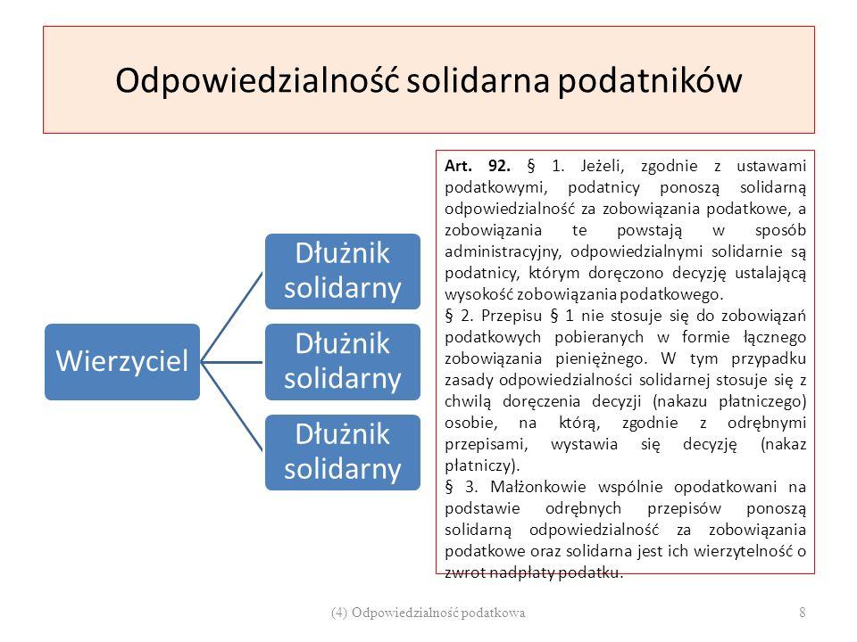 Odpowiedzialność solidarna podatników Wierzyciel Dłużnik solidarny Art. 92. § 1. Jeżeli, zgodnie z ustawami podatkowymi, podatnicy ponoszą solidarną o