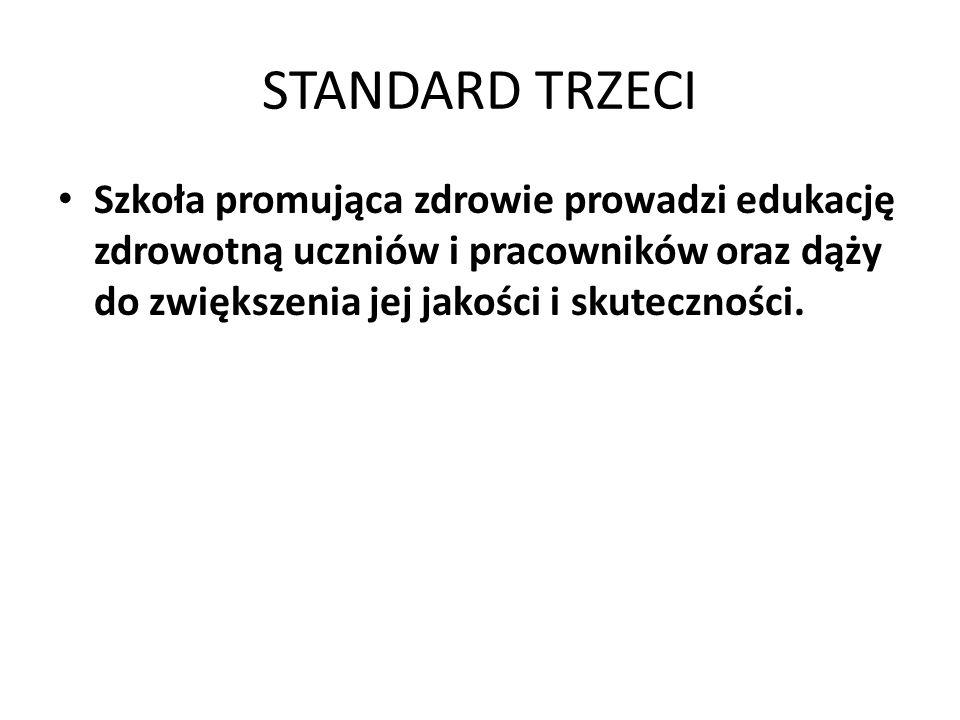 STANDARD TRZECI Szkoła promująca zdrowie prowadzi edukację zdrowotną uczniów i pracowników oraz dąży do zwiększenia jej jakości i skuteczności.