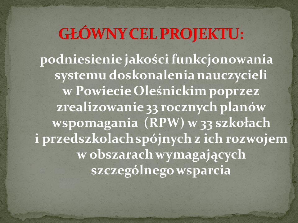 podniesienie jakości funkcjonowania systemu doskonalenia nauczycieli w Powiecie Oleśnickim poprzez zrealizowanie 33 rocznych planów wspomagania (RPW) w 33 szkołach i przedszkolach spójnych z ich rozwojem w obszarach wymagających szczególnego wsparcia