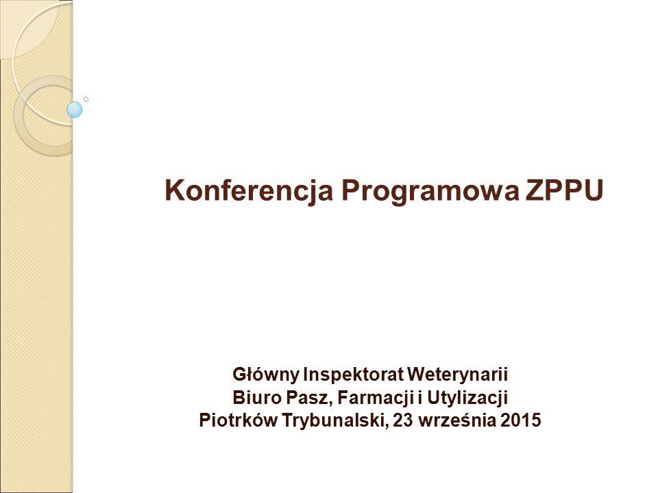 Konferencja Programowa ZPPU Główny Inspektorat Weterynarii Biuro Pasz, Farmacji i Utylizacji Piotrków Trybunalski, 23 września 2015