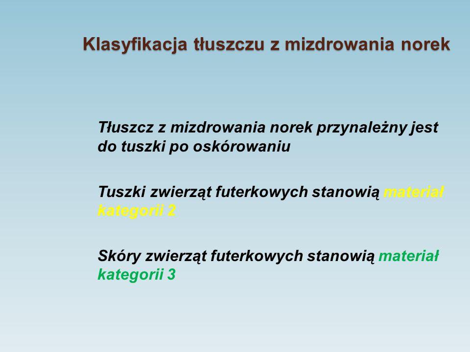 Klasyfikacja tłuszczu z mizdrowania norek Tłuszcz z mizdrowania norek przynależny jest do tuszki po oskórowaniu Tuszki zwierząt futerkowych stanowią m