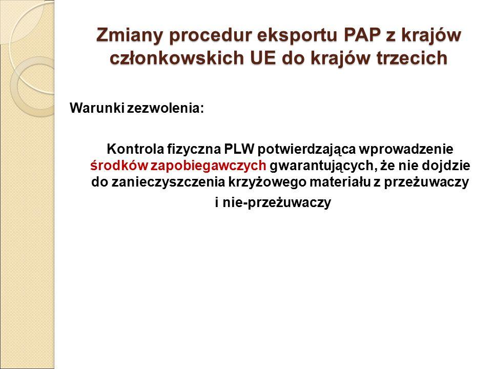 Zmiany procedur eksportu PAP z krajów członkowskich UE do krajów trzecich Warunki zezwolenia: Kontrola fizyczna PLW potwierdzająca wprowadzenie środkó