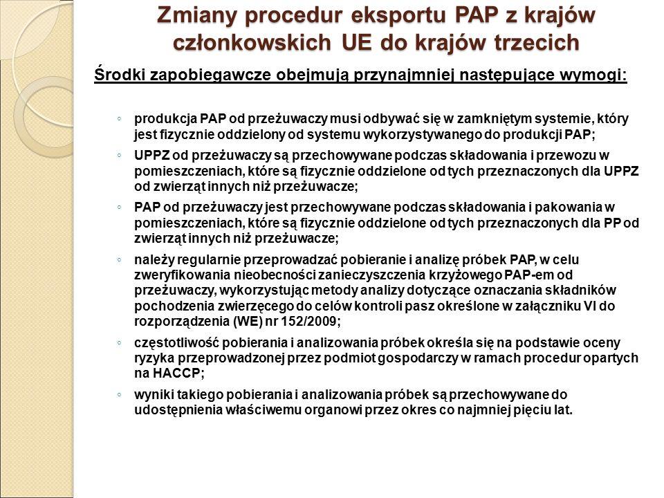 Zmiany procedur eksportu PAP z krajów członkowskich UE do krajów trzecich Środki zapobiegawcze obejmują przynajmniej następujące wymogi: ◦ produkcja P