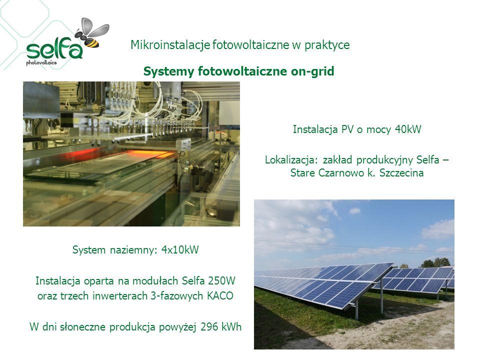 Mikroinstalacje fotowoltaiczne w praktyce Systemy fotowoltaiczne on-grid Instalacja PV o mocy 40kW Lokalizacja: zakład produkcyjny Selfa – Stare Czarnowo k.