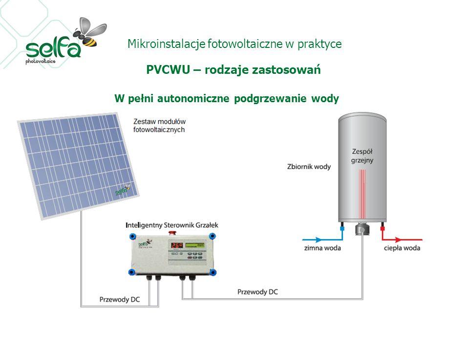 Mikroinstalacje fotowoltaiczne w praktyce PVCWU – rodzaje zastosowań W pełni autonomiczne podgrzewanie wody