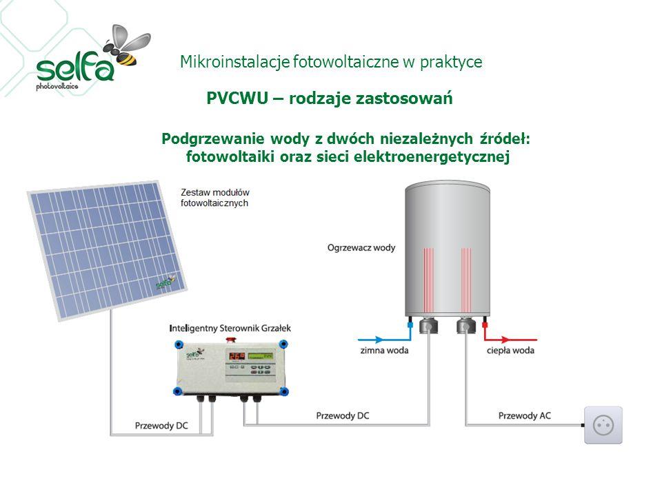 Mikroinstalacje fotowoltaiczne w praktyce PVCWU – rodzaje zastosowań Podgrzewanie wody z dwóch niezależnych źródeł: fotowoltaiki oraz sieci elektroene