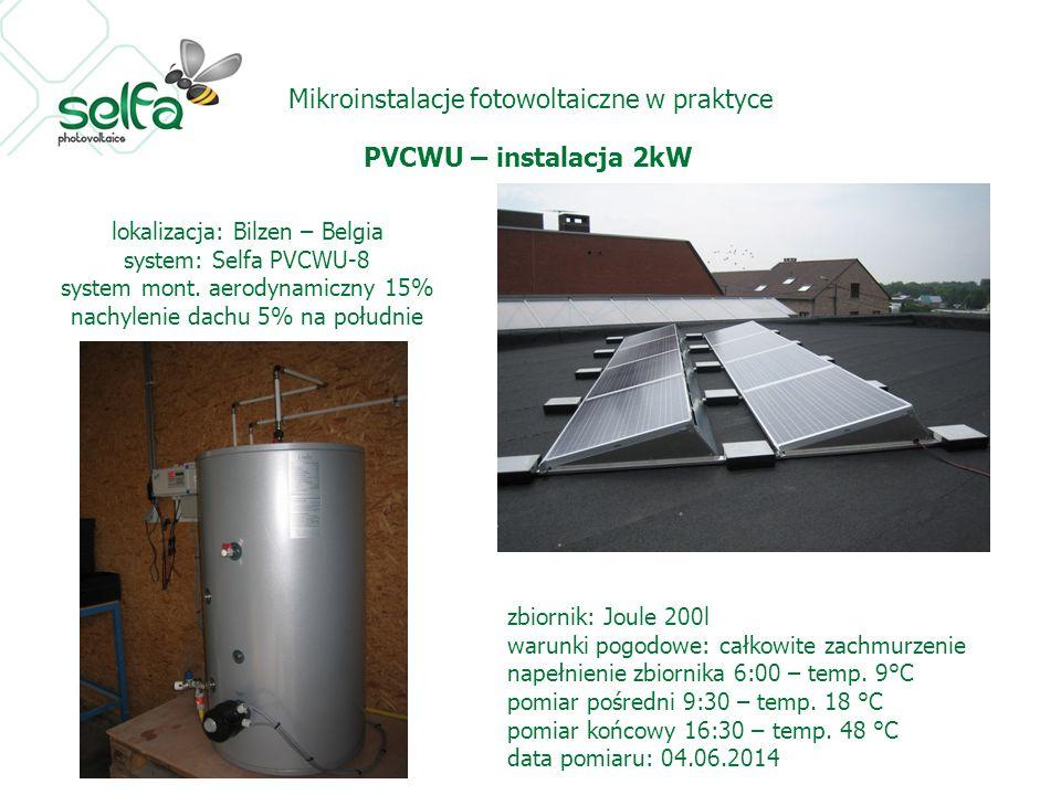 Mikroinstalacje fotowoltaiczne w praktyce PVCWU – instalacja 2kW lokalizacja: Bilzen – Belgia system: Selfa PVCWU-8 system mont. aerodynamiczny 15% na