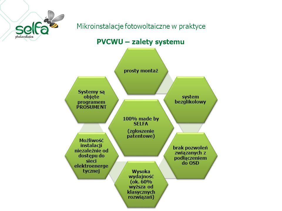Mikroinstalacje fotowoltaiczne w praktyce PVCWU – zalety systemu 100% made by SELFA (zgłoszenie patentowe) prosty montaż system bezglikolowy brak pozw