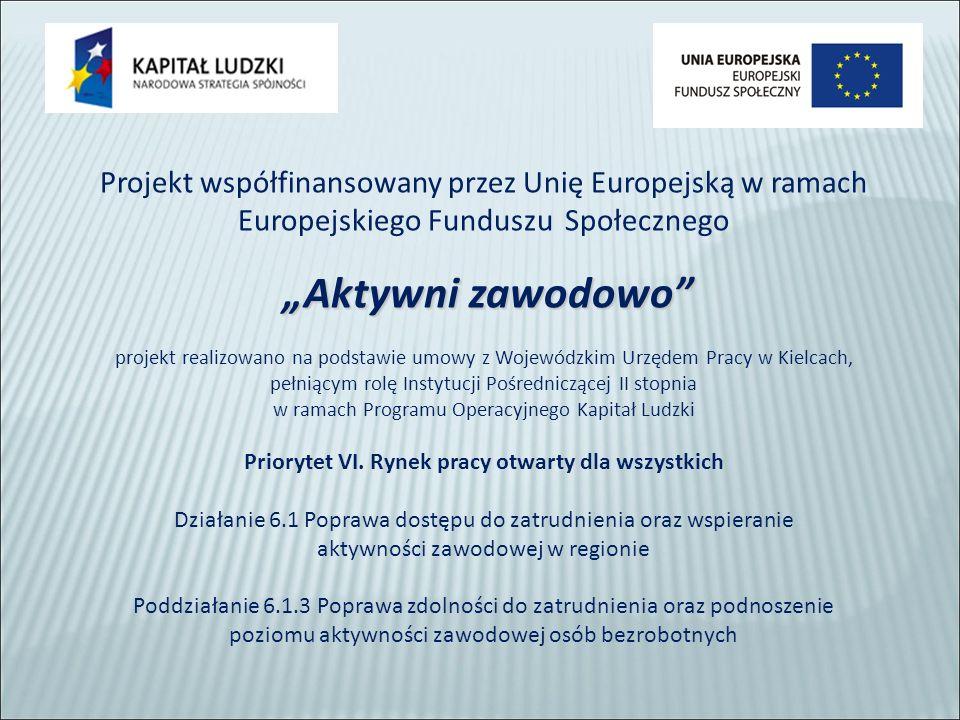 """Projekt współfinansowany przez Unię Europejską w ramach Europejskiego Funduszu Społecznego """"Aktywni zawodowo """"Aktywni zawodowo projekt realizowano na podstawie umowy z Wojewódzkim Urzędem Pracy w Kielcach, pełniącym rolę Instytucji Pośredniczącej II stopnia w ramach Programu Operacyjnego Kapitał Ludzki Priorytet VI."""