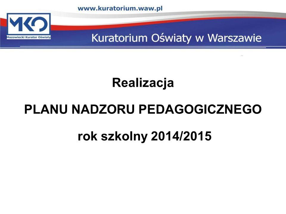Realizacja PLANU NADZORU PEDAGOGICZNEGO rok szkolny 2014/2015