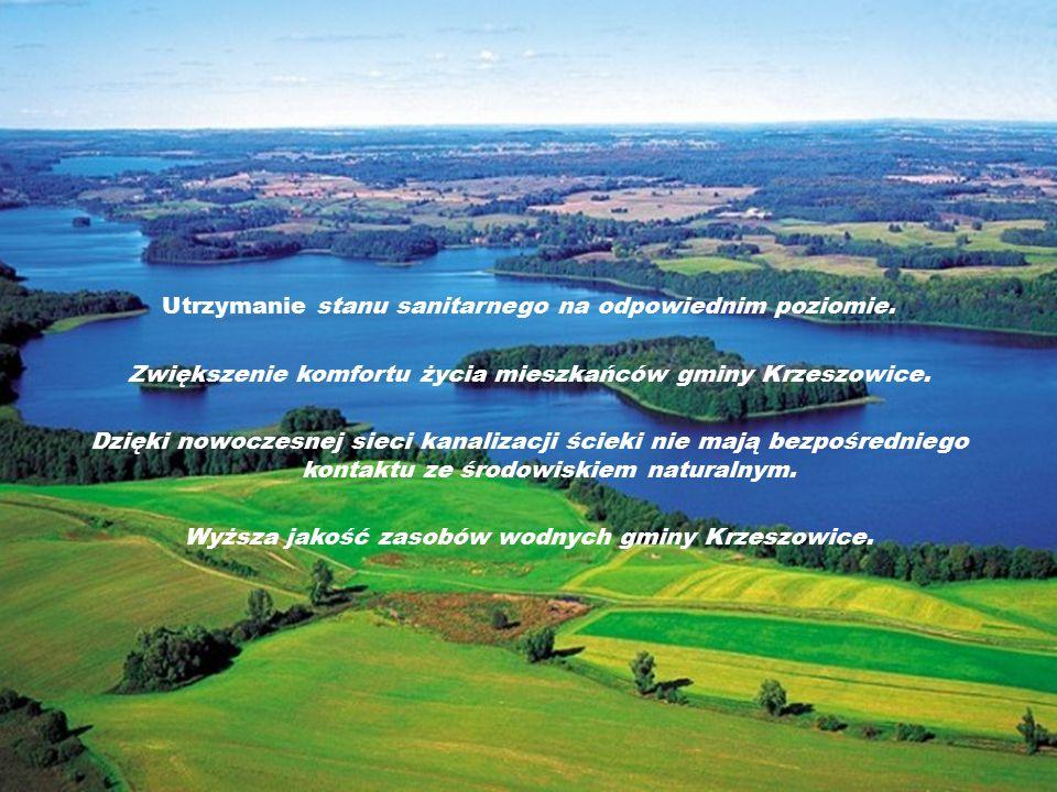 Utrzymanie stanu sanitarnego na odpowiednim poziomie. Zwiększenie komfortu życia mieszkańców gminy Krzeszowice. Dzięki nowoczesnej sieci kanalizacji ś
