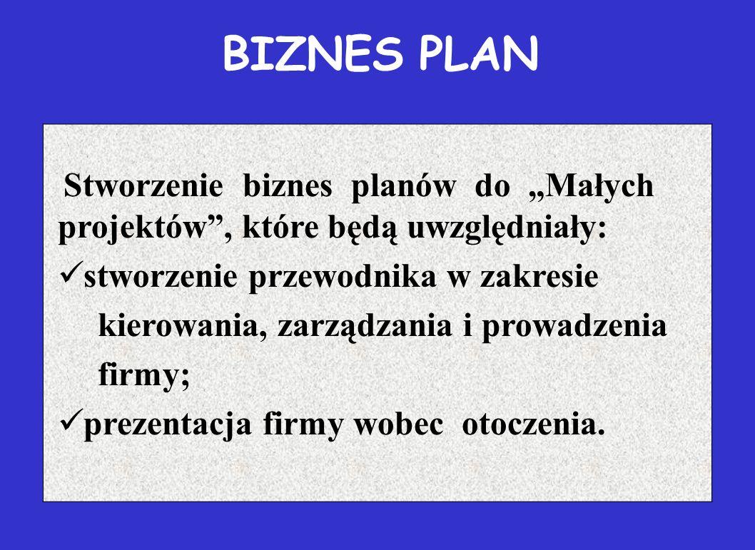 """BIZNES PLAN Stworzenie biznes planów do """"Małych projektów , które będą uwzględniały: stworzenie przewodnika w zakresie kierowania, zarządzania i prowadzenia firmy; prezentacja firmy wobec otoczenia."""