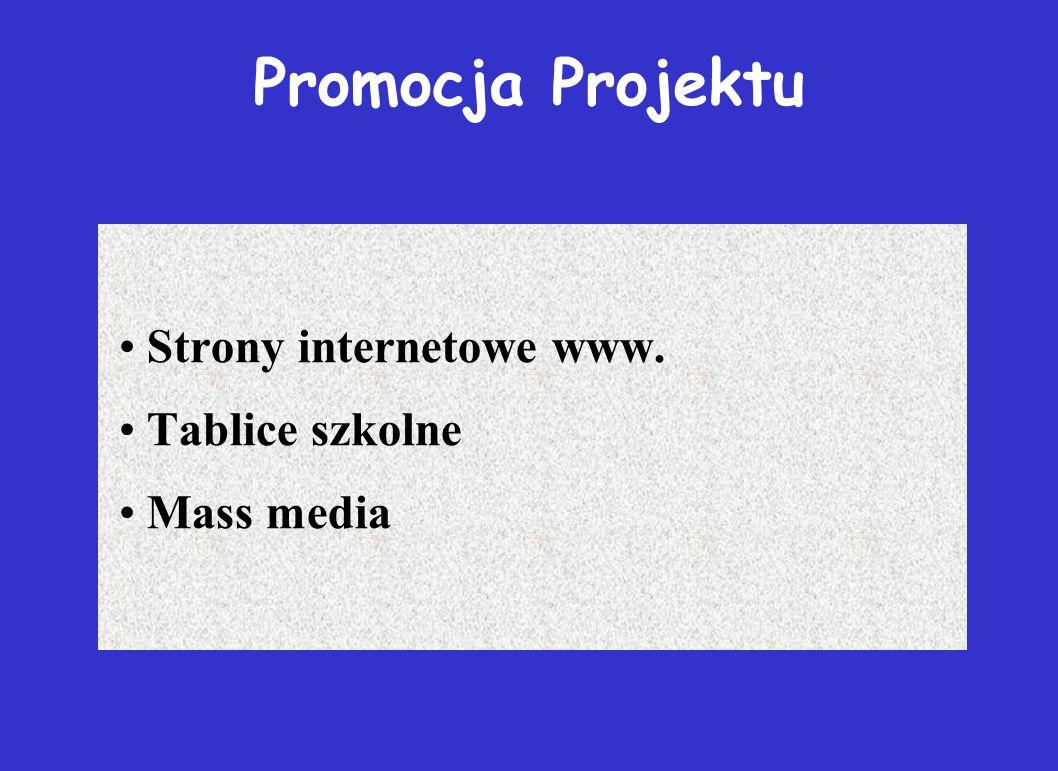 Promocja Projektu Strony internetowe www. Tablice szkolne Mass media