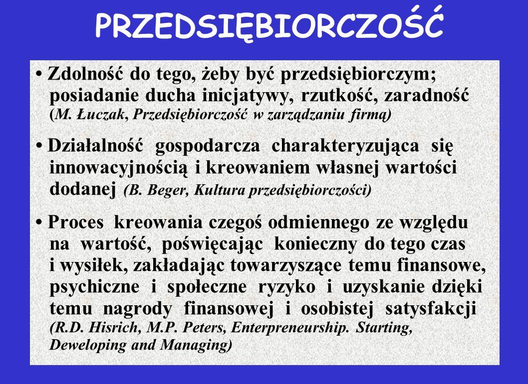PRZEDSIĘBIORCZOŚĆ Zdolność do tego, żeby być przedsiębiorczym; posiadanie ducha inicjatywy, rzutkość, zaradność (M. Łuczak, Przedsiębiorczość w zarząd