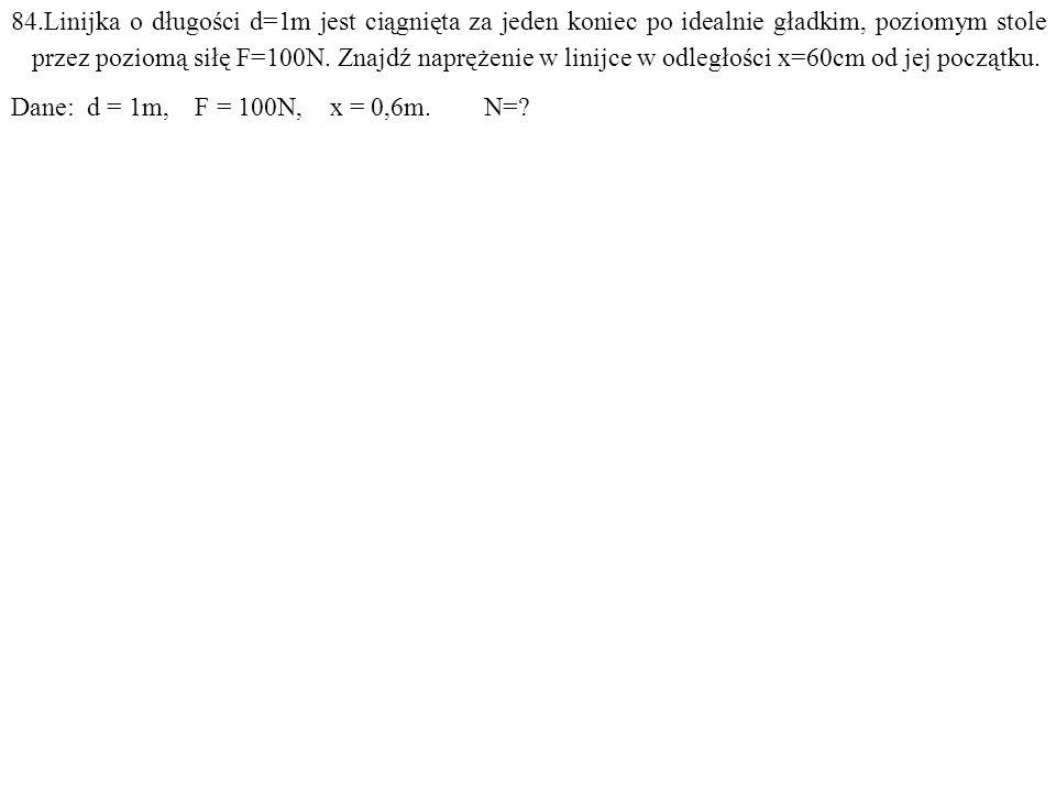 Dane: d = 1m, F = 100N, x = 0,6m. N=