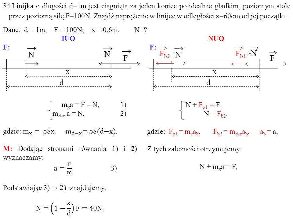 84.Linijka o długości d=1m jest ciągnięta za jeden koniec po idealnie gładkim, poziomym stole przez poziomą siłę F=100N.