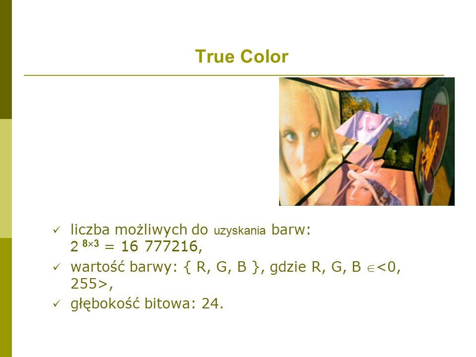 True Color liczba możliwych do uzyskania barw: 2 8  3 = 16 777216, wartość barwy: { R, G, B }, gdzie R, G, B , głębokość bitowa: 24.