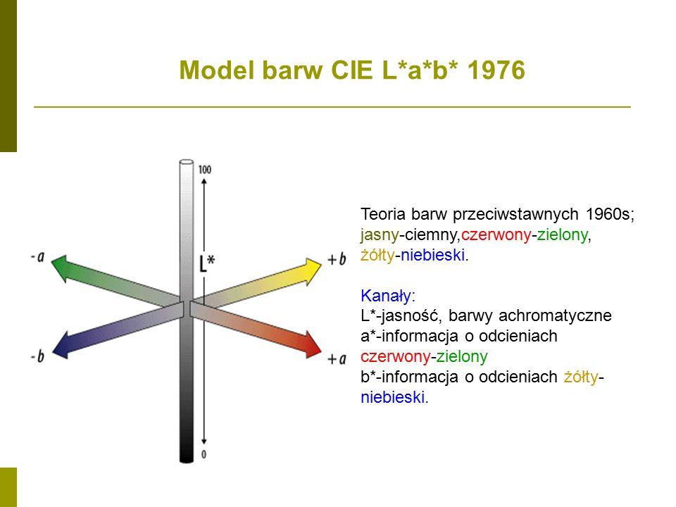 Model barw CIE L*a*b* 1976 Teoria barw przeciwstawnych 1960s; jasny-ciemny,czerwony-zielony, żółty-niebieski.