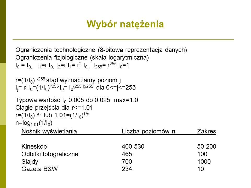 Wybór natężenia Nośnik wyświetlaniaLiczba poziomów nZakres Kineskop400-53050-200 Odbitki fotograficzne465100 Slajdy7001000 Gazeta B&W23410 Ograniczenia technologiczne (8-bitowa reprezentacja danych) Ograniczenia fizjologiczne (skala logarytmiczna) I 0 = I 0, I 1 =r I 0, I 2 =r I 1 = r 2 I 0, I 255 = r 255 I 0 =1 r=(1/I 0 ) 1/255 stąd wyznaczamy poziom j I j = r j I 0 =(1/I 0 ) j/255 I 0 = I 0 (255-j)/255 dla 0<=j<=255 Typowa wartość I 0 0.005 do 0.025 max=1.0 Ciągłe przejścia dla r<=1.01 r=(1/I 0 ) 1/n lub 1.01=(1/I 0 ) 1/n n=log 1.01 (1/I 0 )
