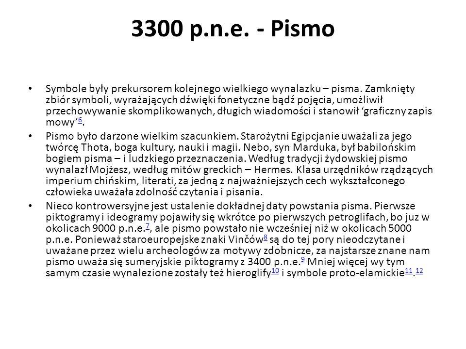 3300 p.n.e. - Pismo Symbole były prekursorem kolejnego wielkiego wynalazku – pisma. Zamknięty zbiór symboli, wyrażających dźwięki fonetyczne bądź poję