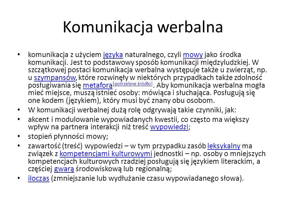 Komunikacja niewerbalna Komunikacja niewerbalna[edytuj]edytuj Z Wikipedii, wolnej encyklopedii Skocz do: nawigacji, wyszukiwanianawigacjiwyszukiwania Mowa ciała, język ciała, komunikacja niewerbalna – zespół niewerbalnych komunikatów nadawanych i odbieranych przez ludzi na wszystkich niewerbalnych kanałach jednocześnie.