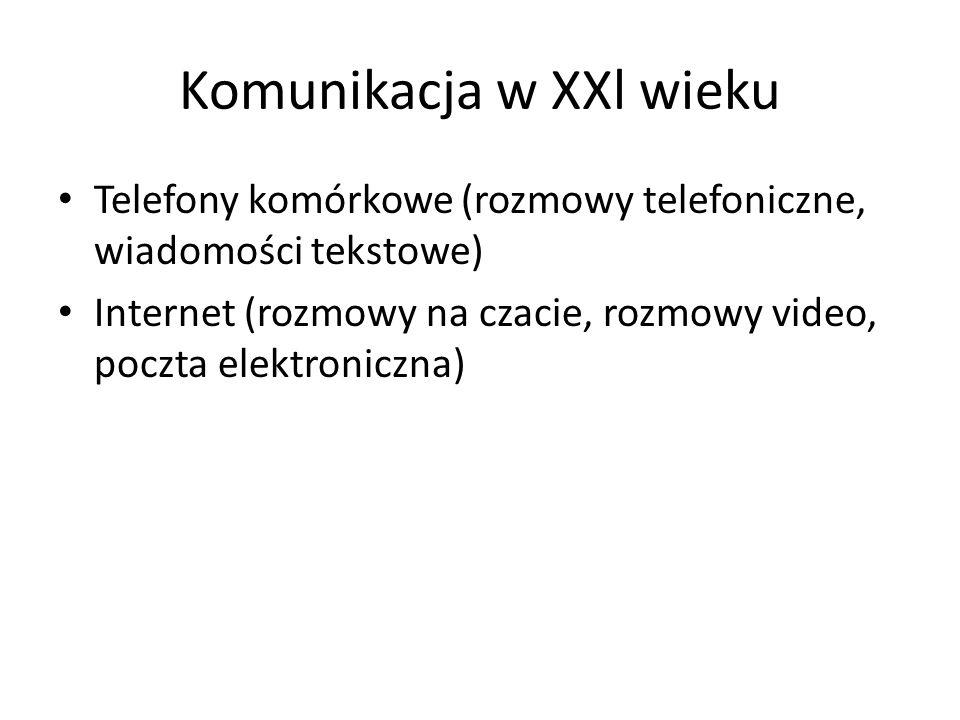 Komunikacja w XXl wieku Telefony komórkowe (rozmowy telefoniczne, wiadomości tekstowe) Internet (rozmowy na czacie, rozmowy video, poczta elektroniczn