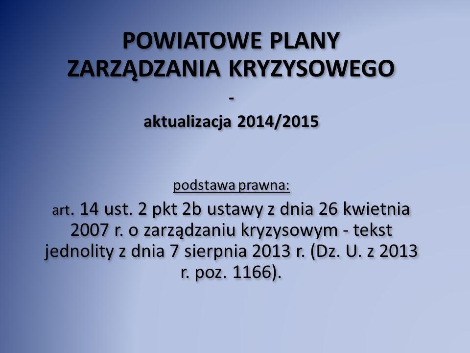 POWIATOWE PLANY ZARZĄDZANIA KRYZYSOWEGO - aktualizacja 2014/2015 podstawa prawna: art. 14 ust. 2 pkt 2b ustawy z dnia 26 kwietnia 2007 r. o zarządzani