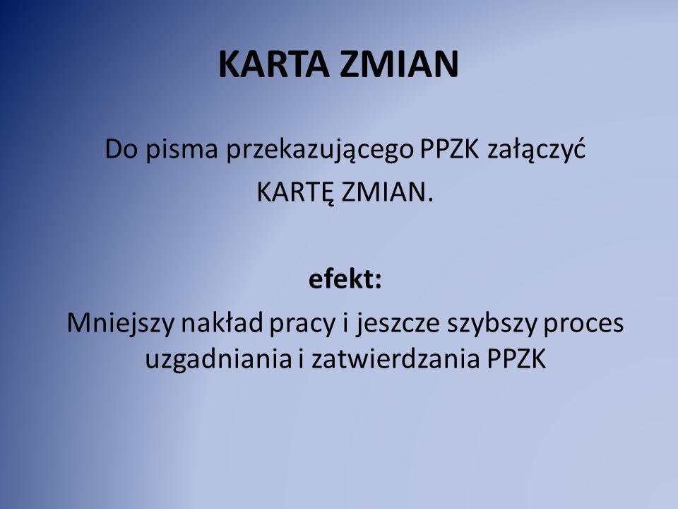 KARTA ZMIAN Do pisma przekazującego PPZK załączyć KARTĘ ZMIAN.