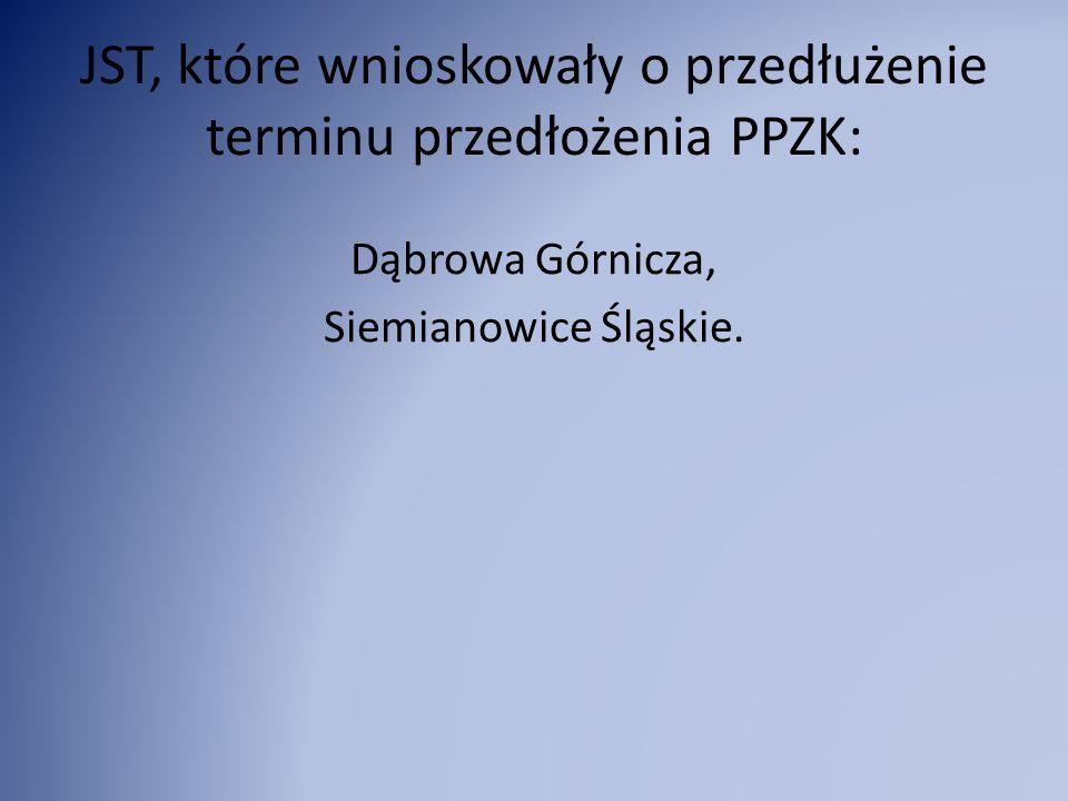JST, które wnioskowały o przedłużenie terminu przedłożenia PPZK: Dąbrowa Górnicza, Siemianowice Śląskie.