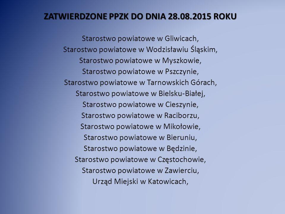 ZATWIERDZONE PPZK DO DNIA 28.08.2015 ROKU Starostwo powiatowe w Gliwicach, Starostwo powiatowe w Wodzisławiu Śląskim, Starostwo powiatowe w Myszkowie,