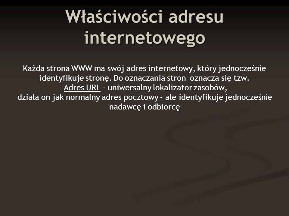 Standardowa postać adresu: http://www.pop.com.pl Protokół określający sposób przesyłania pliku, będącego dokumentem hipertekstowym (html) Strona obsługiwana przez serwer WWW kraj kategoria Nazwa (domena) instytucji, firmy
