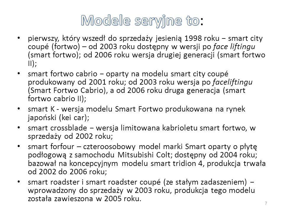 pierwszy, który wszedł do sprzedaży jesienią 1998 roku − smart city coupé (fortwo) – od 2003 roku dostępny w wersji po face liftingu (smart fortwo); od 2006 roku wersja drugiej generacji (smart fortwo II); smart fortwo cabrio − oparty na modelu smart city coupé produkowany od 2001 roku; od 2003 roku wersja po faceliftingu (Smart Fortwo Cabrio), a od 2006 roku druga generacja (smart fortwo cabrio II); smart K - wersja modelu Smart Fortwo produkowana na rynek japoński (kei car); smart crossblade − wersja limitowana kabrioletu smart fortwo, w sprzedaży od 2002 roku; smart forfour – czteroosobowy model marki Smart oparty o płytę podłogową z samochodu Mitsubishi Colt; dostępny od 2004 roku; bazował na koncepcyjnym modelu smart tridion 4, produkcja trwała od 2002 do 2006 roku; smart roadster i smart roadster coupé (ze stałym zadaszeniem) − wprowadzony do sprzedaży w 2003 roku, produkcja tego modelu została zawieszona w 2005 roku.