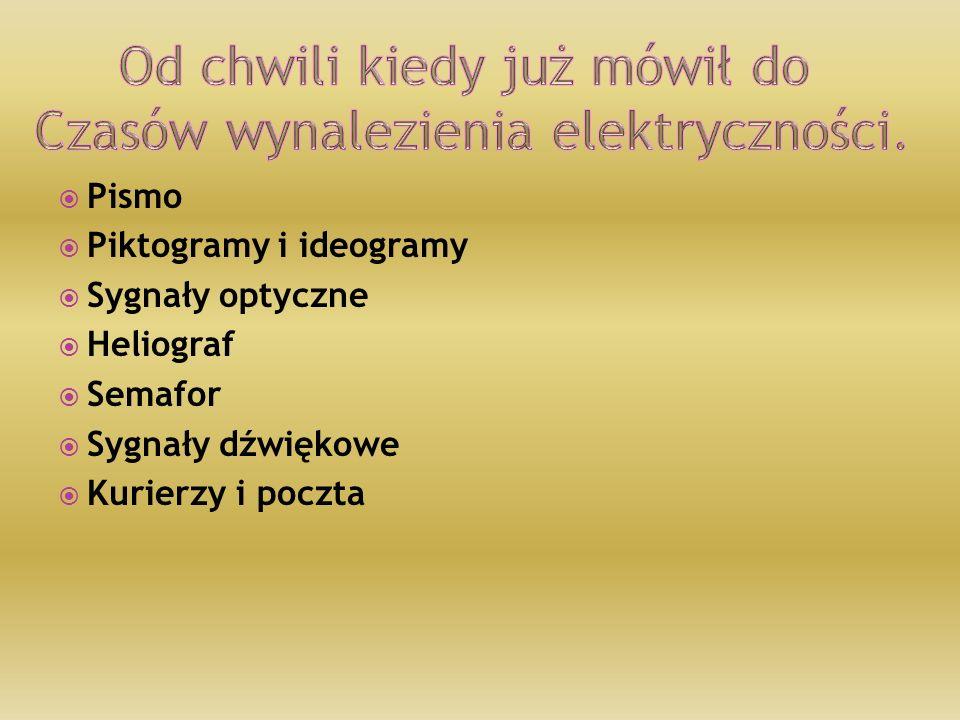  Pismo  Piktogramy i ideogramy  Sygnały optyczne  Heliograf  Semafor  Sygnały dźwiękowe  Kurierzy i poczta