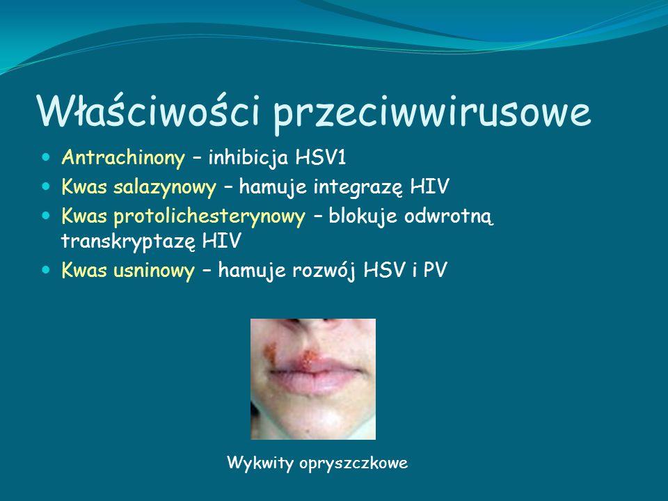 Właściwości przeciwwirusowe Antrachinony – inhibicja HSV1 Kwas salazynowy – hamuje integrazę HIV Kwas protolichesterynowy – blokuje odwrotną transkryp