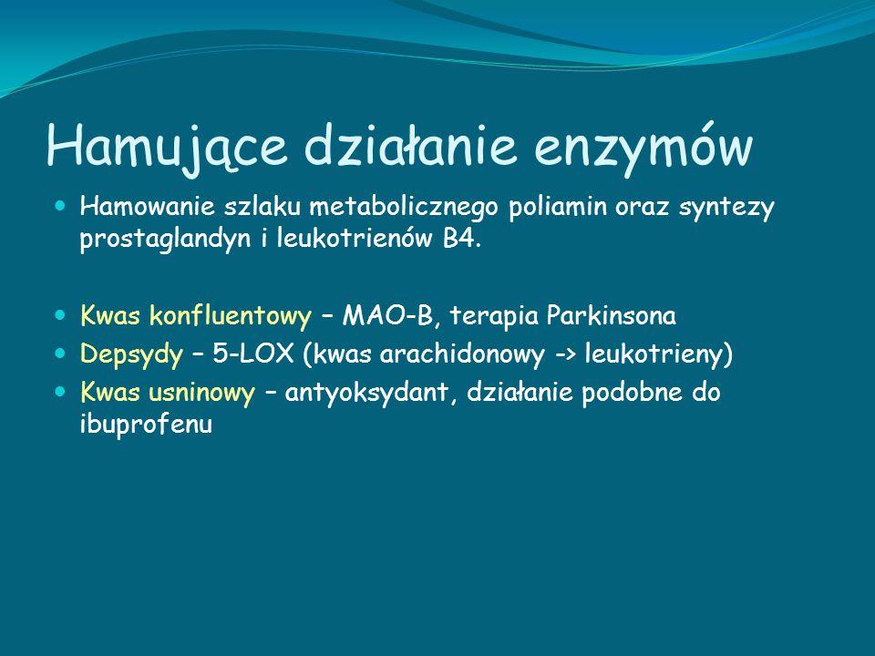 Hamujące działanie enzymów Hamowanie szlaku metabolicznego poliamin oraz syntezy prostaglandyn i leukotrienów B4. Kwas konfluentowy – MAO-B, terapia P