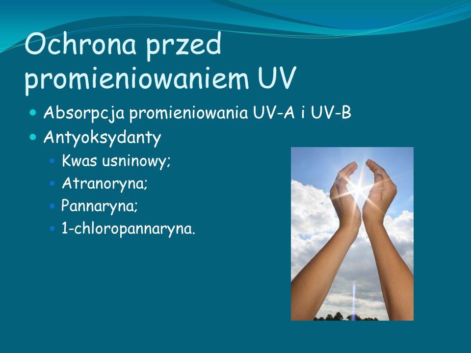 Ochrona przed promieniowaniem UV Absorpcja promieniowania UV-A i UV-B Antyoksydanty Kwas usninowy; Atranoryna; Pannaryna; 1-chloropannaryna.