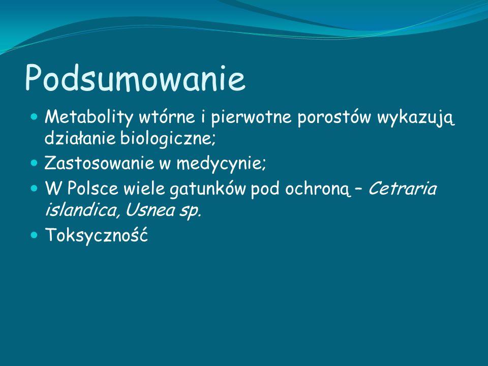 Podsumowanie Metabolity wtórne i pierwotne porostów wykazują działanie biologiczne; Zastosowanie w medycynie; W Polsce wiele gatunków pod ochroną – Ce