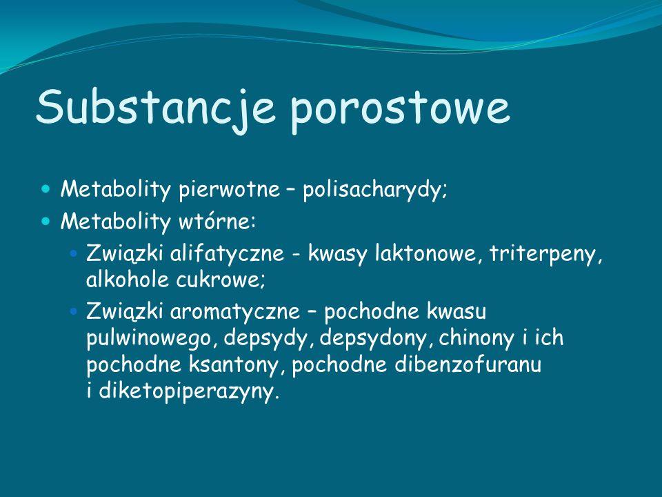 Substancje porostowe Metabolity pierwotne – polisacharydy; Metabolity wtórne: Związki alifatyczne - kwasy laktonowe, triterpeny, alkohole cukrowe; Zwi