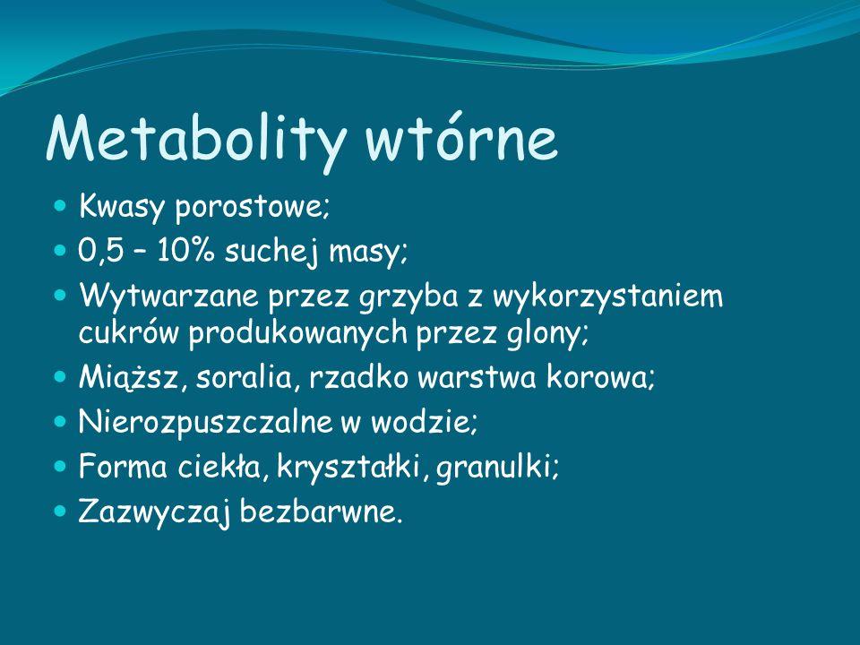 Metabolity wtórne Kwasy porostowe; 0,5 – 10% suchej masy; Wytwarzane przez grzyba z wykorzystaniem cukrów produkowanych przez glony; Miąższ, soralia,