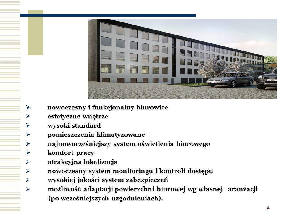 4  nowoczesny i funkcjonalny biurowiec  estetyczne wnętrze  wysoki standard  pomieszczenia klimatyzowane  najnowocześniejszy system oświetlenia b