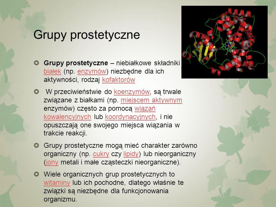 Grupy prostetyczne  Grupy prostetyczne – niebiałkowe składniki białek (np. enzymów) niezbędne dla ich aktywności, rodzaj kofaktorów białekenzymówkofa