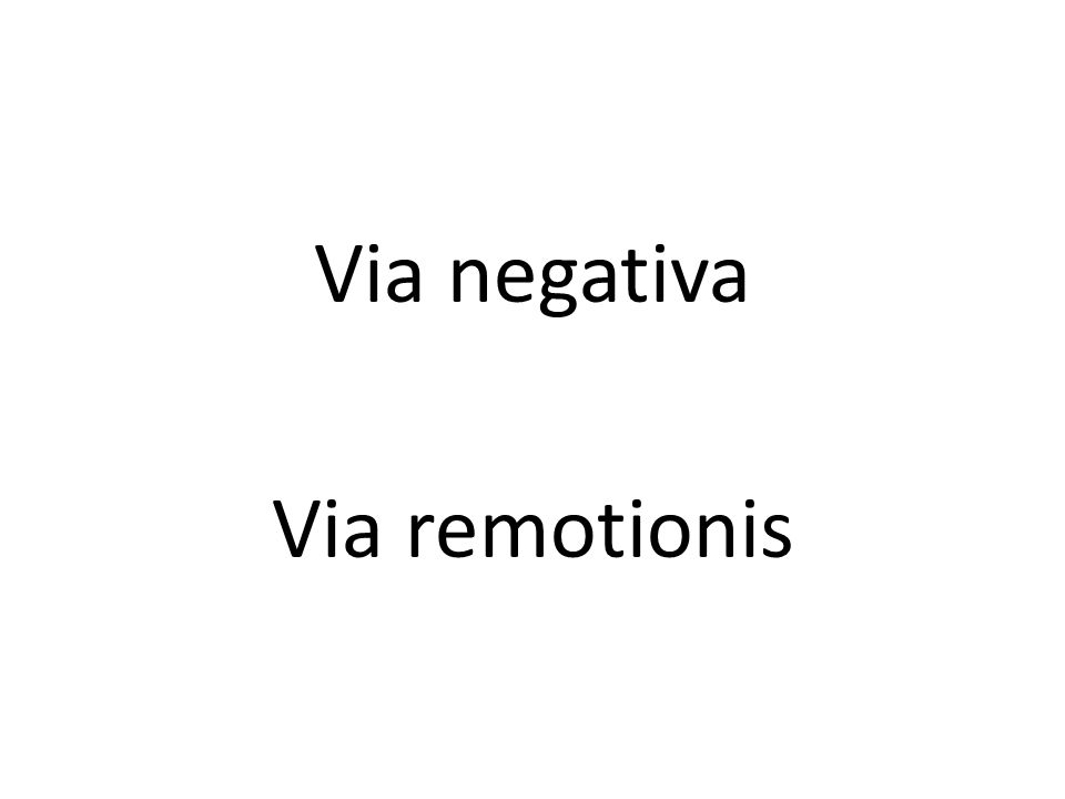 Via negativa Via remotionis