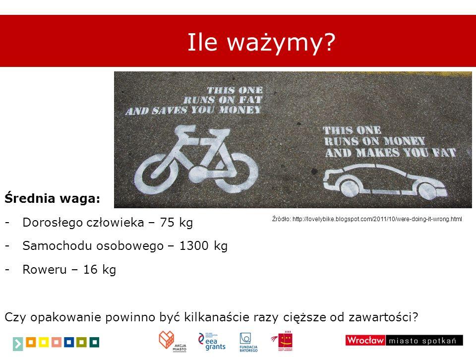 Średnia waga: -Dorosłego człowieka – 75 kg -Samochodu osobowego – 1300 kg -Roweru – 16 kg Czy opakowanie powinno być kilkanaście razy cięższe od zawar
