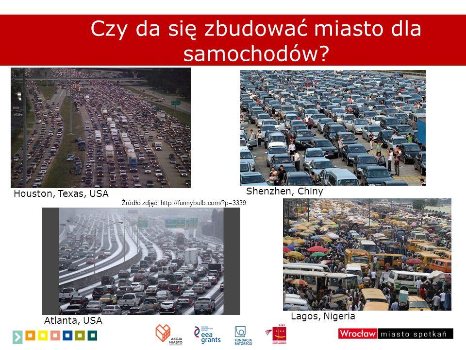 Czy da się zbudować miasto dla samochodów? Houston, Texas, USA Shenzhen, Chiny Atlanta, USA Lagos, Nigeria Źródło zdjęć: http://funnybulb.com/?p=3339