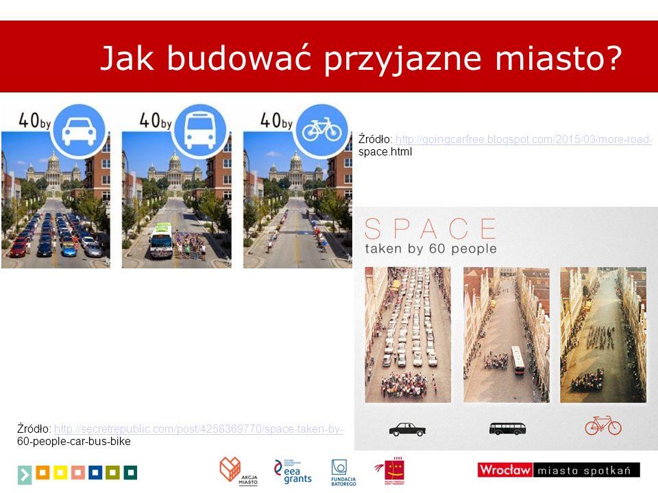 Jak budować przyjazne miasto? Źródło: http://secretrepublic.com/post/4258369770/space-taken-by- 60-people-car-bus-bikehttp://secretrepublic.com/post/4