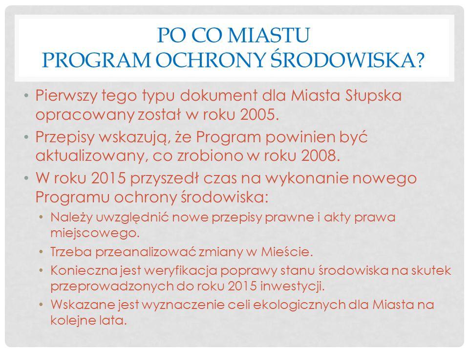 PO CO MIASTU PROGRAM OCHRONY ŚRODOWISKA? Pierwszy tego typu dokument dla Miasta Słupska opracowany został w roku 2005. Przepisy wskazują, że Program p