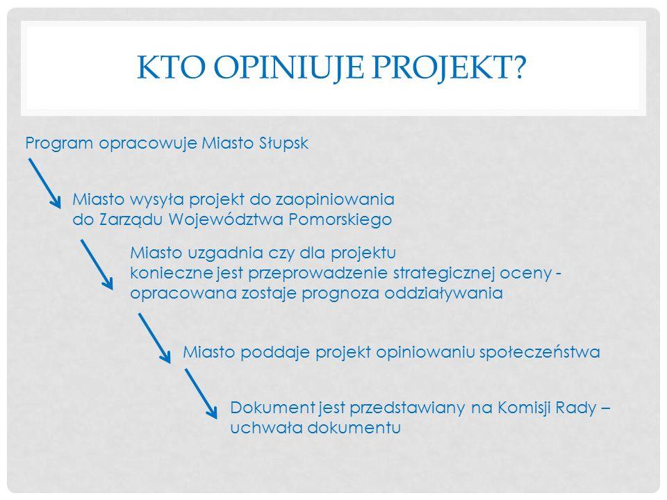 KTO OPINIUJE PROJEKT? Program opracowuje Miasto Słupsk Miasto wysyła projekt do zaopiniowania do Zarządu Województwa Pomorskiego Miasto uzgadnia czy d