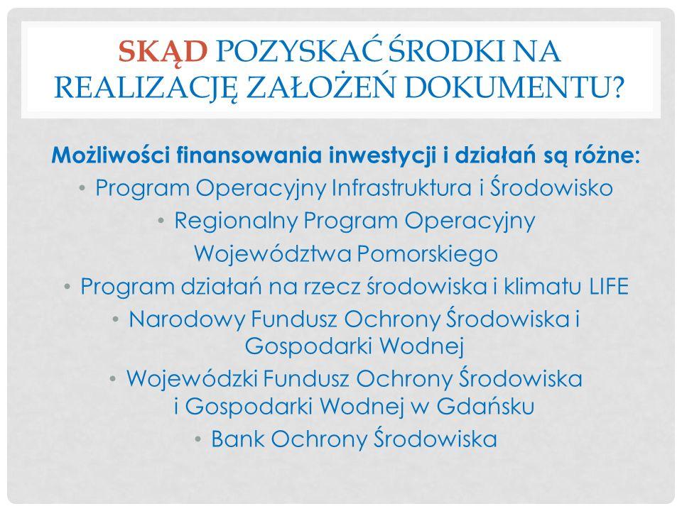 SKĄD POZYSKAĆ ŚRODKI NA REALIZACJĘ ZAŁOŻEŃ DOKUMENTU? Możliwości finansowania inwestycji i działań są różne: Program Operacyjny Infrastruktura i Środo