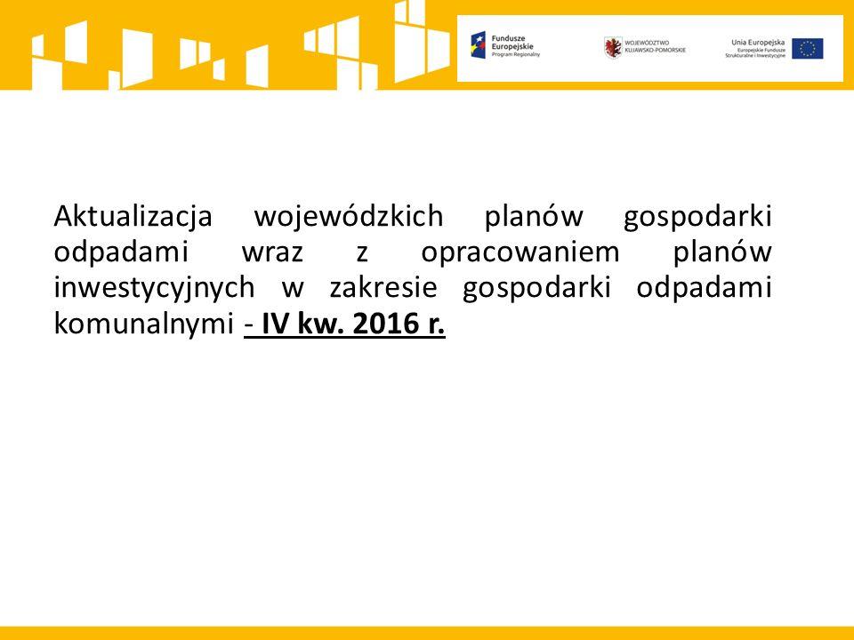 Aktualizacja wojewódzkich planów gospodarki odpadami wraz z opracowaniem planów inwestycyjnych w zakresie gospodarki odpadami komunalnymi - IV kw. 201