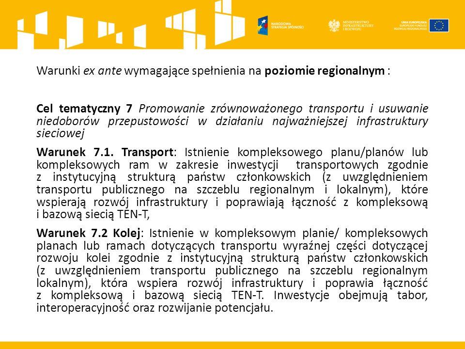 Warunki ex ante wymagające spełnienia na poziomie regionalnym : Cel tematyczny 7 Promowanie zrównoważonego transportu i usuwanie niedoborów przepustowości w działaniu najważniejszej infrastruktury sieciowej Warunek 7.1.